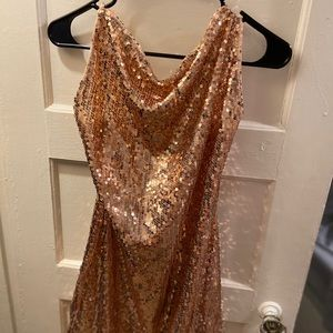Brand new sequin dress with gold chain